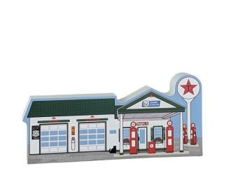 """Wooden replica of the Ambler-Becker Route 66 Gas Station, Dwight, Illinois. Handcrafted in 3/4"""" thick wood by The Cat's Meow Village in the USA."""