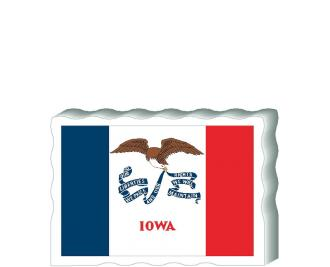 Slightly larger than a deck of cards, this wooden postcard version of the Iowa flag can fit into any nook around your home or workplace showing off your state pride! Handcrafted in the USA by The Cat's Meow Village.