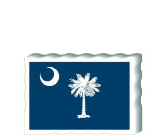 Slightly larger than a deck of cards, this wooden postcard version of the South Carolina flag can fit into any nook around your home or workplace showing off your state pride! Handcrafted in the USA by The Cat's Meow Village.
