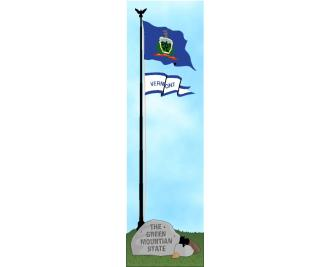 Cat's Meow shelf sitter of the Vermont state flag, the Green Mountain State.