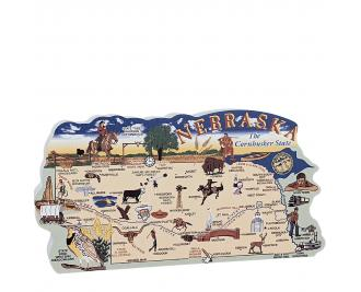 """Add this oversized Nebraska map to your home decor to shout out your state pride. Handcrafted of 3/4"""" thick wood by The Cat's Meow Village in the USA."""