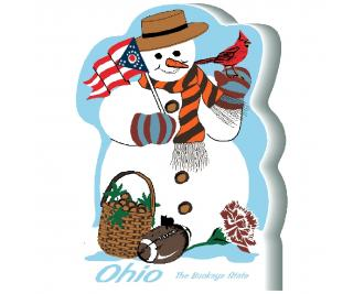 """Ohio State Snowman handcrafted and made in the USA by The Cat's Meow Village from 3/4"""" thick wood."""