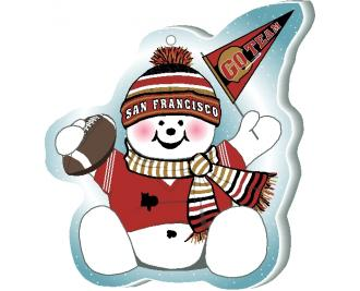 "Cheer on your San Francisco team with this adorable snowman ornament waving his Go Team pennant, handcrafted in 1/4"" thick wood by The Cat's Meow Village. Made in the USA!"