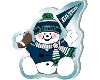 "Cheer on your Seattle team with this adorable snowman ornament waving his Go Team pennant, handcrafted in 1/4"" thick wood by The Cat's Meow Village. Made in the USA!"