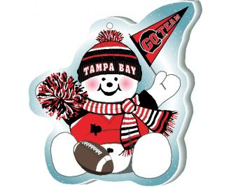 "Cheer on your Tampa Bay team with this adorable snowman ornament waving his Go Team pennant, handcrafted in 1/4"" thick wood by The Cat's Meow Village. Made in the USA!"
