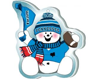 "Waving his team spirit towell and cheering on his team, Tennessee, this snowman is handcrafted of 1/4"" thick wood by The Cat's Meow Village in the USA."