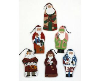 Cat's Meow collection of 6 classic santa wooden ornaments originally handcrafted for A Country Tradition in Wooster Ohio