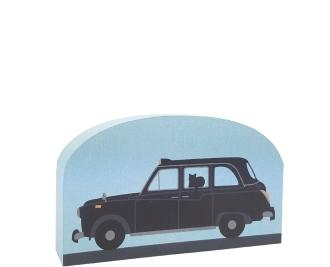 Black taxi cab of London handcrafted in wood by The Cat's Meow Village