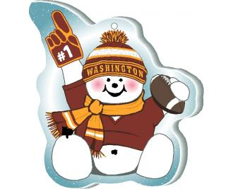 "With football and #1 foam hand, our Washington snowman is cheering on his team in all team colors. Handcrafted by The Cat's Meow Village of 1/4"" thick wood, in the USA."