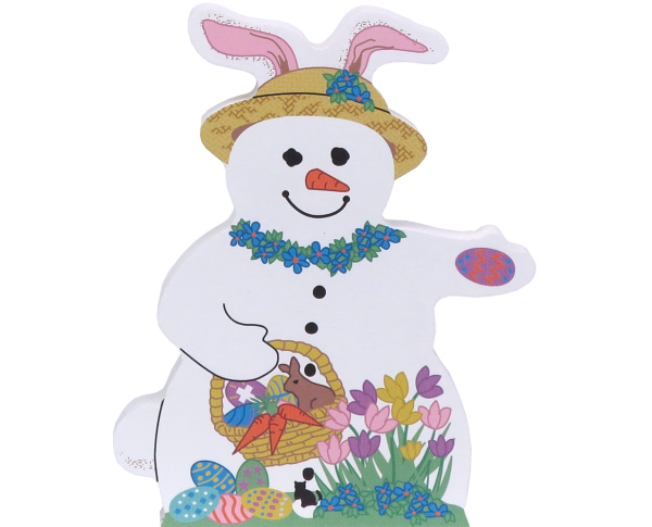 "Easter Snowman keepsake with Easter Eggs handcrafted by The Cat's Meow Village from 3/4"" thick wood."