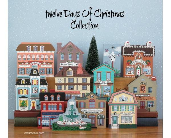 Cat's Meow Village set/12 Twelve Days Of Christmas Collection
