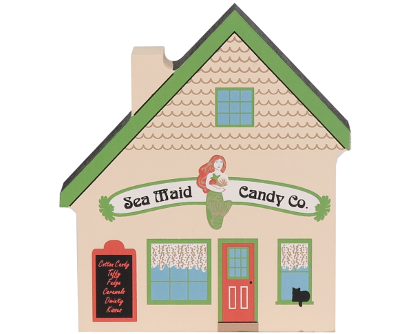 Bring the beach home with a Cat's Meow handcrafted wooden miniature of the Sea Maid Candy Co.