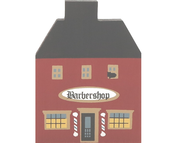 "Vintage Barbershop from Series I handcrafted from 3/4"" thick wood by The Cat's Meow Village in the USA"