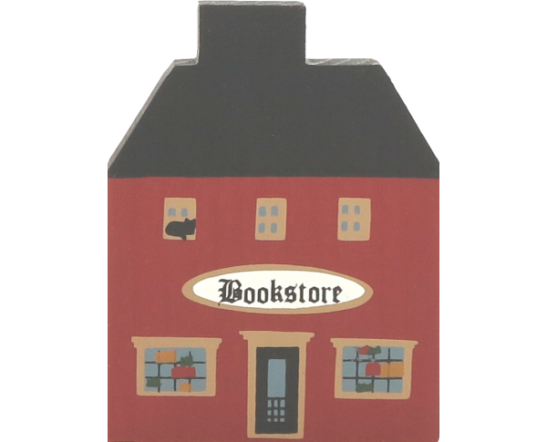 "Vintage Bookstore from Series I handcrafted from 3/4"" think wood by The Cat's Meow Village in the USA"