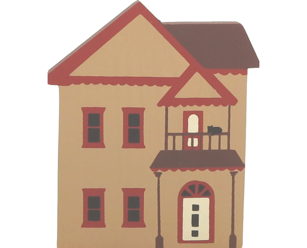 "Vintage Victorian House from Series I handcrafted from 3/4"" thick wood by The Cat's Meow Village in the USA"