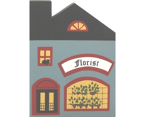 "Vintage Florist Shop from Series I handcrafted from 3/4"" thick wood by The Cat's Meow Village in the USA"