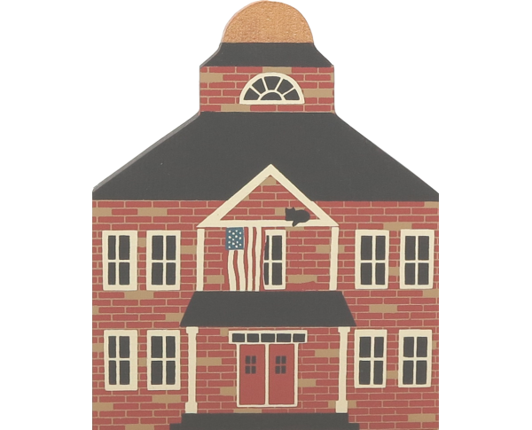 "Vintage Town Hall from Series II handcrafted from 3/4"" thick wood by The Cat's Meow Village in the USA"