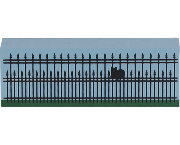 "Wooden shelf sitter décor of the 3"" Iron Fence handcrafted in the U.S. by The Cat's Meow Village"