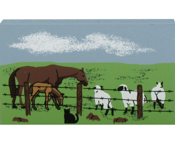 Cat's Meow Horses & Sheep in pasture