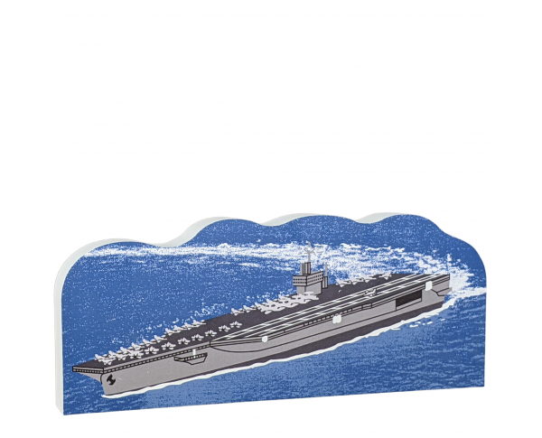 "US Navy Aircraft Carrier replica handcrafted in 3/4"" thick wood by The Cat's Meow Village in Wooster, Ohio."