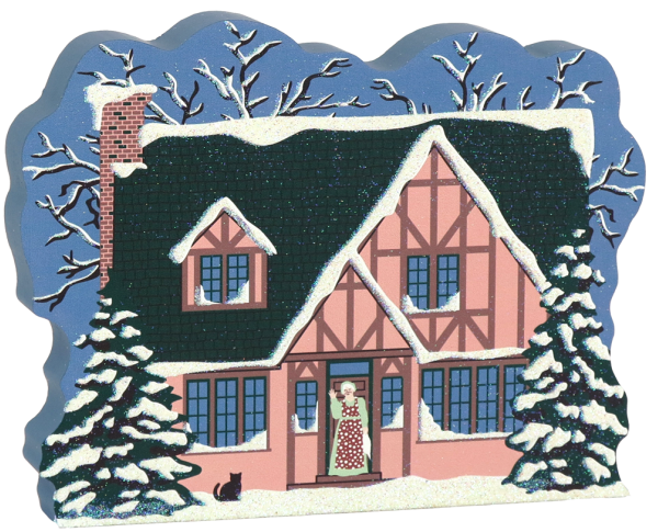 Over The River And Through The Woods grandmother's house scene. Part of a handcrafted wooden 4 pc set to display in your home. By The Cat's Meow Village.