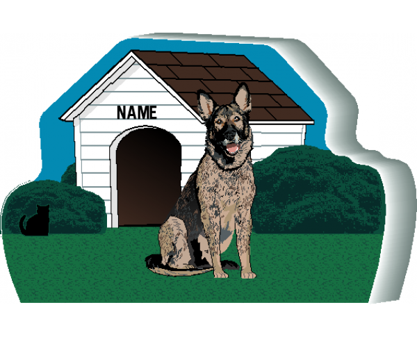 Dog House, German Shepherd, Black Sable, PURRsonalize Me!