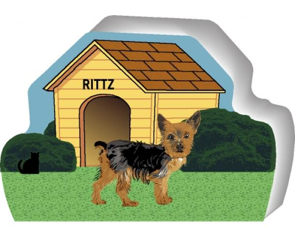 Cat's Meow shelf sitter of a Yorkie you can personalize with your dog's name.