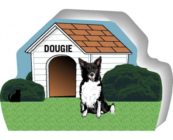 Border Collie can be personalized with your dog's name on the dog house