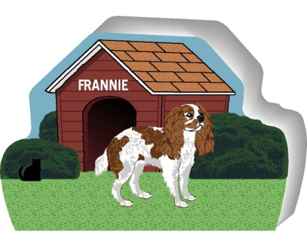 Cat's Meow shelf sitter of Cavalier King Charles Spaniel you can personalize with your dogs name.