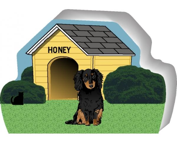 Longhair Black & Tan Dachshund can be personalized with your dog's name