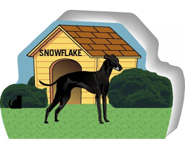 Cat's Meow shelf sitter of a black Greyhound you can personalize with your dog's name.