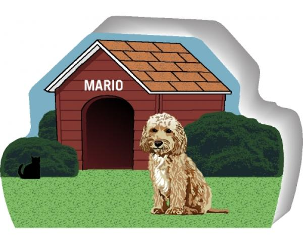 Cat's Meow Village handcrafted wooden shelf sitter of a Cockapoo you can personalize with your dog's name.