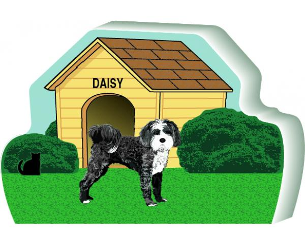 "Tibetan Terrier dog house you can personalize with your dog's name. Handcrafted in 3/4"" thick wood in Wooster, Ohio by The Cat's Meow Village."