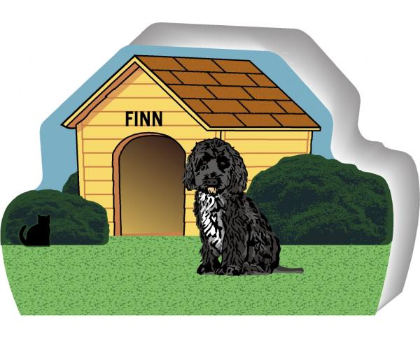 Personalize this cute little wooden dog house of a Portuguese Water Dog with your dogs name. By The Cat's Meow Village, handcrafted in the USA.