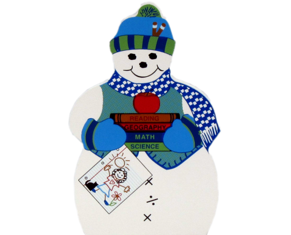 Teacher Snowman, reading, writing, geography, science, math, apple