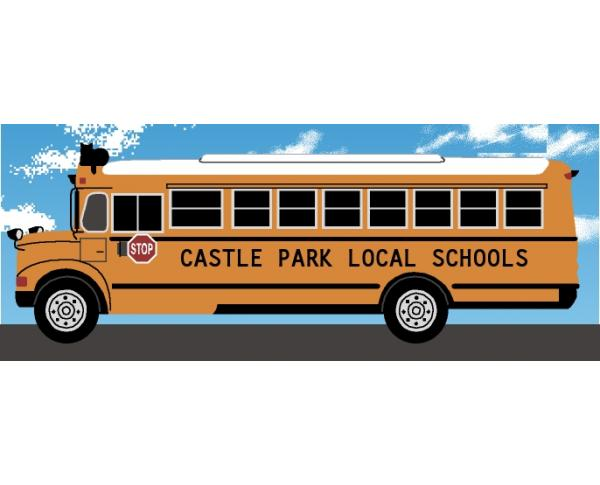 Personalize this Cat's Meow school bus keepsake with your school or students name.