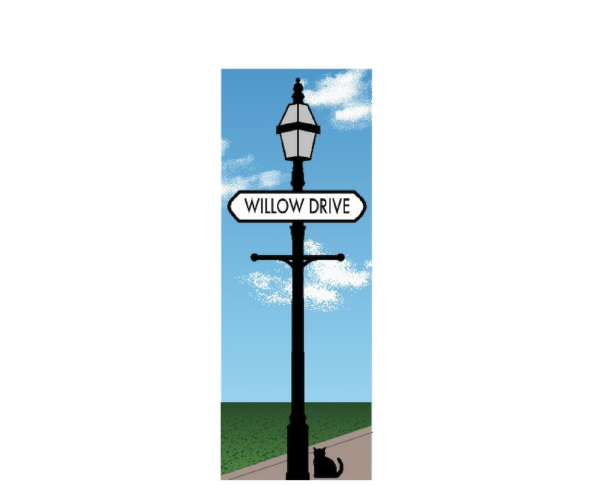 Personalize this Cat's Meow street sign keepsake with your street or road name.