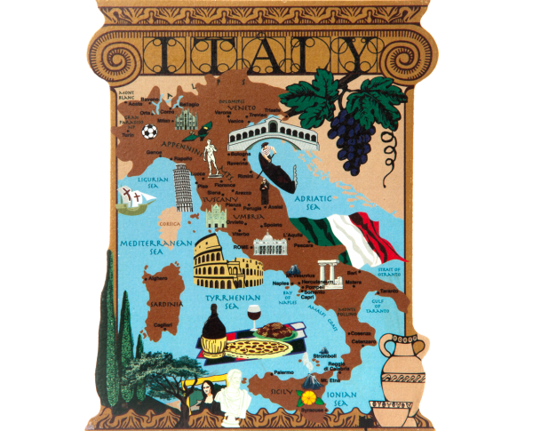 "Shelf sitter of the Map of Italy handcrafted in 3/4"" thick wood by The Cat's Meow Village. Made In The USA."