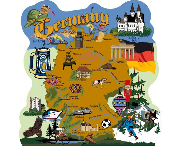 Map of Germany, Alps, Munich, Oktoberfest, Rhine River, Black Forest, Heidelberg