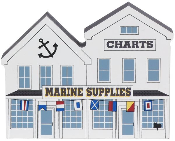 Remember your trip to the coast with a wooden keepsake of the Marine Supplies to decorate your home created by The Cat's Meow Village