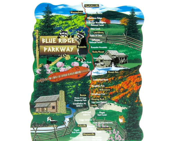 Blue Ridge Parkway, Great Smoky Mountains, Shenandoah, Appalachian Mountains, North Carolina, Virginia handcrafted wooden keepsake by The Cat's Meow Village