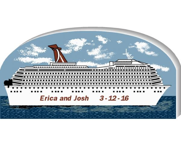 "Personalize this Cruise Ship to remember that great cruise you took. Handcrafted in 3/4"" wood by The Cat's Meow Village."