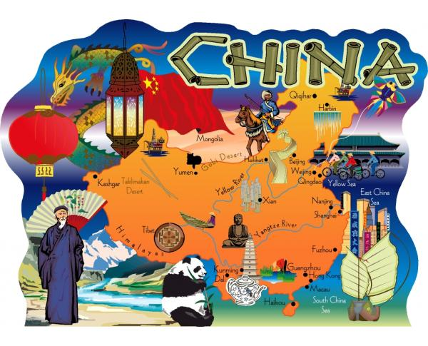 China, Map of China, Chinese Map, Beijing, Xian, Yangtze River, Yellow river, Shanghai, China Sea