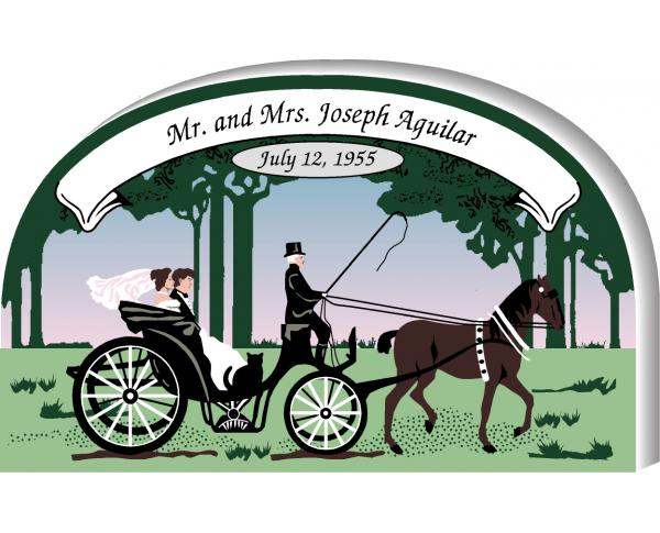 Example of personalization written on a Cat's Meow Village handcrafted wooden Wedding Carriage keepsake
