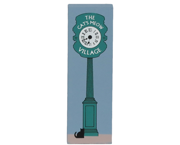 Wooden shelf sitter décor of the Street Clock handcrafted in the U.S. by The Cat's Meow Village