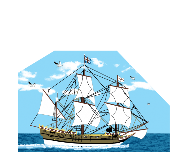 """Godspeed Ship, Jamestown, Virginia. Handcrafted in the USA 3/4"""" thick wood by Cat's Meow Village."""