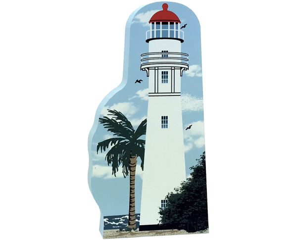 Cat's Meow Village handcrafted wooden replica of Diamond Head Lighthouse, Hawaii. Made in the USA.