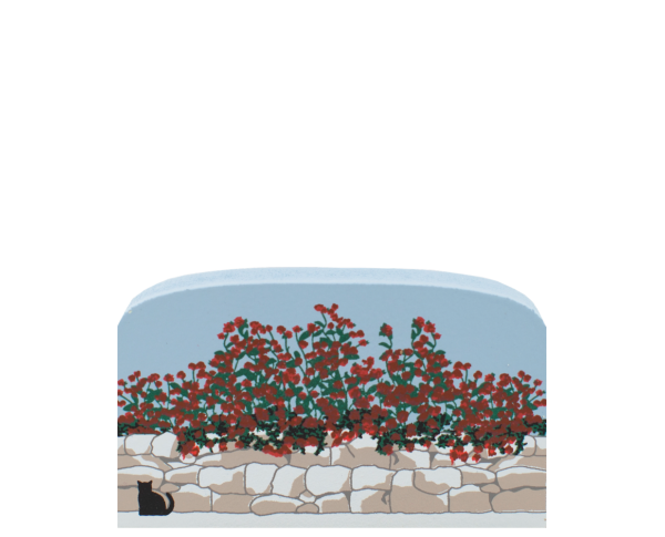 "Roses cascading over a stone wall handcrafted in 3/4"" thick wood by The Cat's Meow Village in the USA."