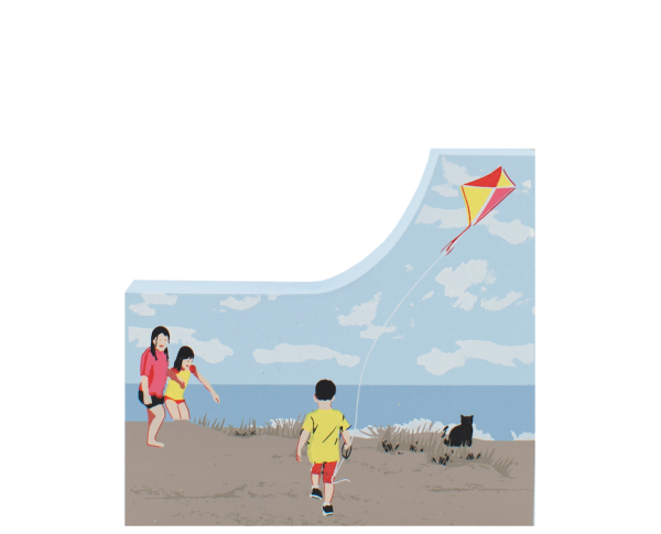 Children Flying Kite, kite, seashore, Cape Cod, New England, nautical