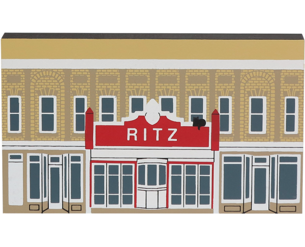 "Vintage Ritz Theater from Series XII handcrafted from 3/4"" thick wood by The Cat's Meow Village in the USA"